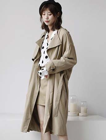 Oversized double-breasted cotton blend trench coat