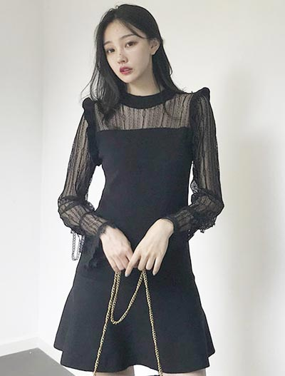 Lace-paneled mini knit dress