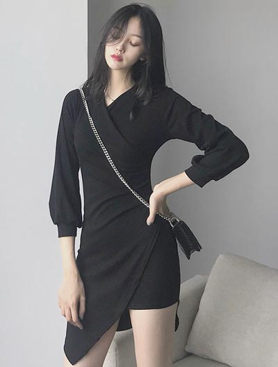 V-neck asymmetric cotton blend mini dress