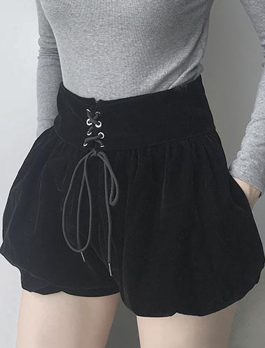 High rise lace-up shorts
