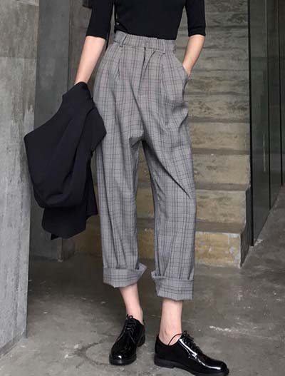 High rise cropped checked cotton blend trousers/pants