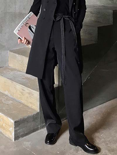 High rise belted wide-leg trousers/pants