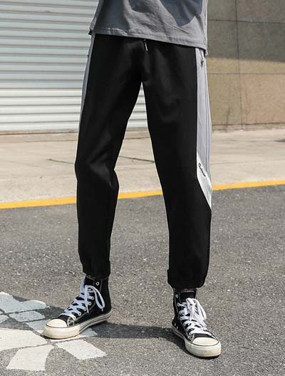 Drawstring cropped two-tone cotton blend trouser/pants