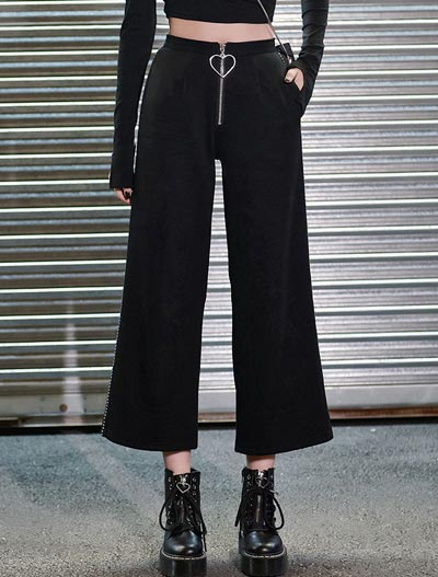 High rise cropped wide-leg studded trousers/pants