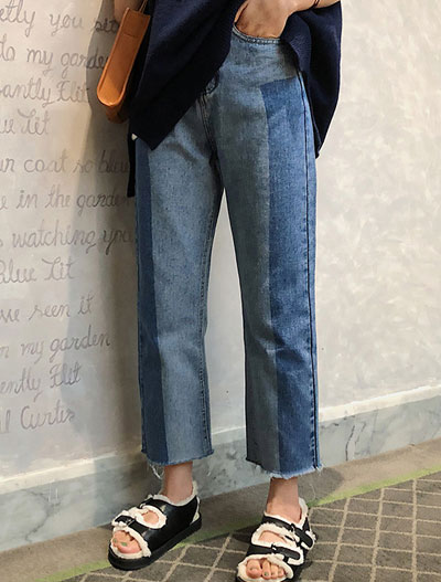 High rise cropped two-tone straight-leg jeans
