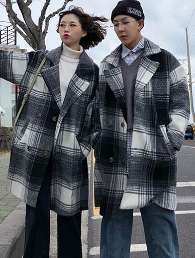 Double-breasted checked wool blend coat
