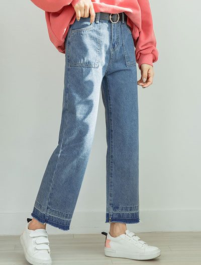 High rise straight-leg fringed jeans