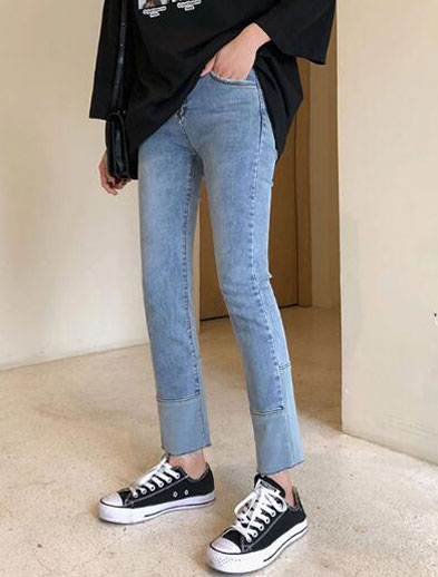 High rise two-tone straight-leg jeans