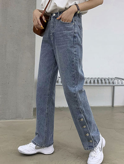 High rise buttoned straight-leg jeans