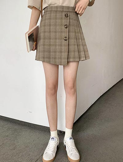 High rise checked pleated mini skirt