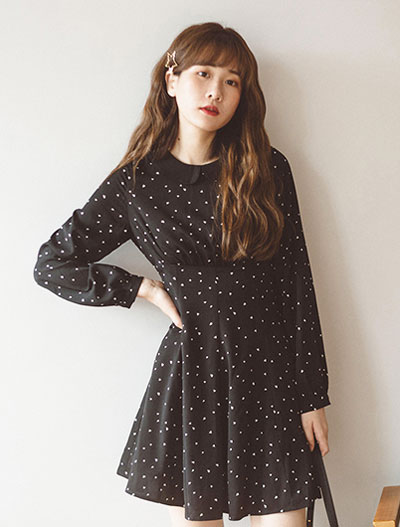 Dotted collar mini dress