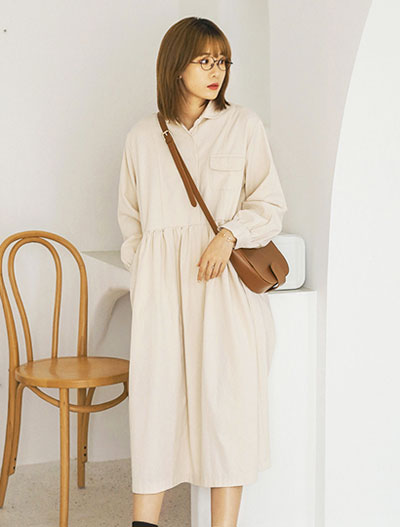Oversized cotton blend midi dress