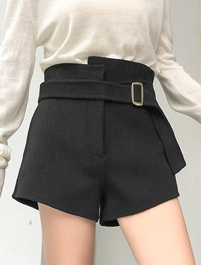 High rise belted wool blend shorts