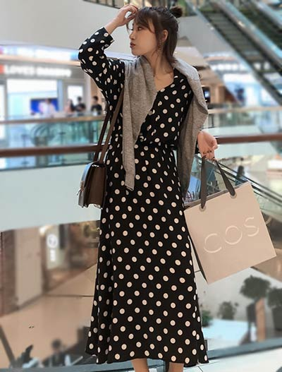 Dot printed cotton blend midi dress
