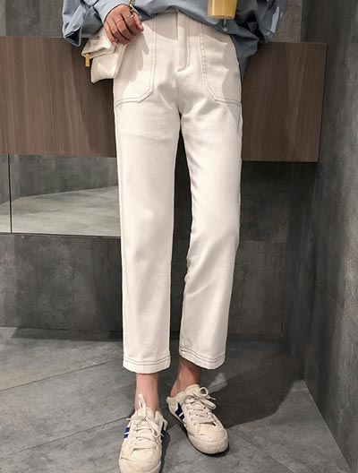 Cropped straight-leg trousers/pants