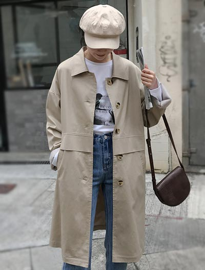 Solid color cotton blend trench coat
