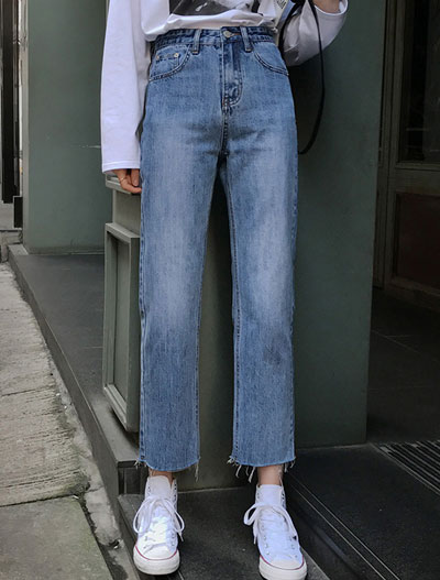 High rise straight-leg cropped jeans
