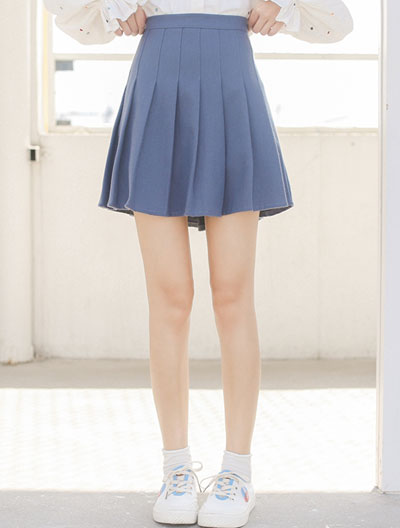 High rise pleated cotton blend mini skirt