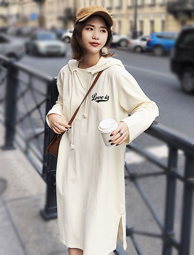 Letter oversize hooded dress