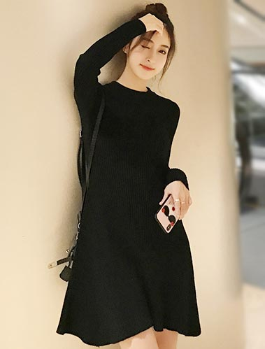 Ribbed-knit crepe mini knit dress
