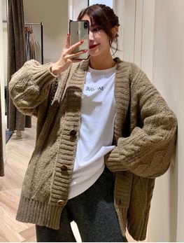 Cable-knit oversized cardigan