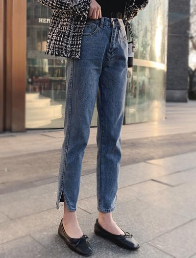 High rise slit jeans