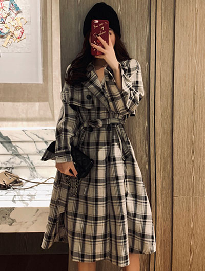Belted checked trench coat