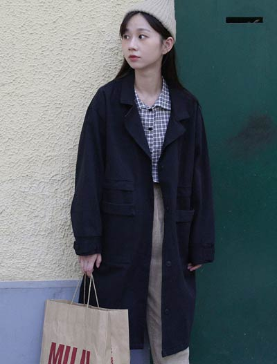 Oversized pocket cotton blend trench coat