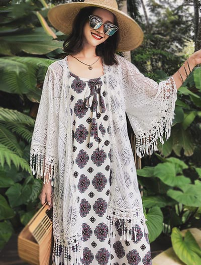 Fringed crocheted beach summer outer