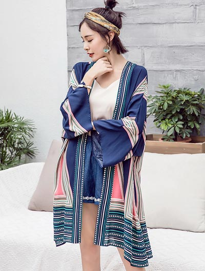 Printed striped beach summer outer