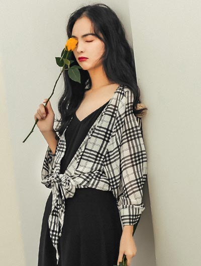 Checked chiffon summer outer