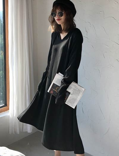 Hooded knitted wool blend dress