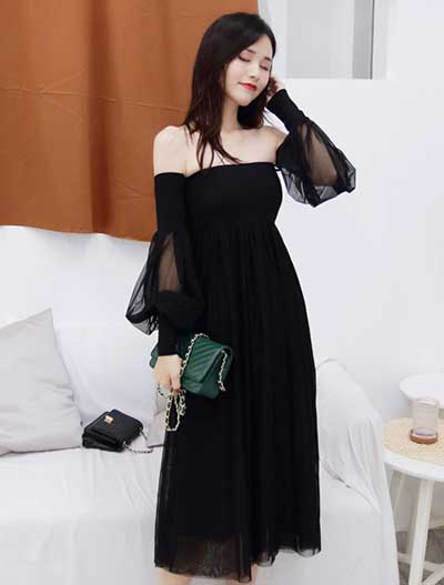 Off-the shoulder see-through chiffon dress