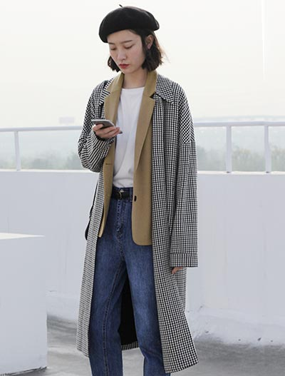 False two checked slit trench coat