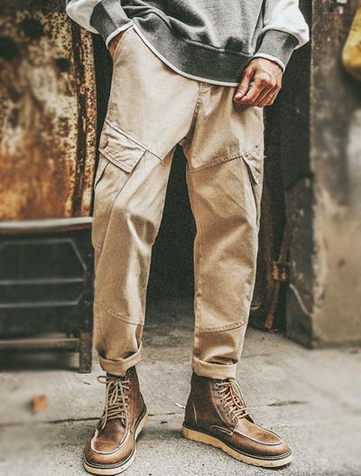 Pocket solid color trousers/pants