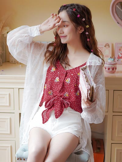 See-through/sheer lace long summer outer