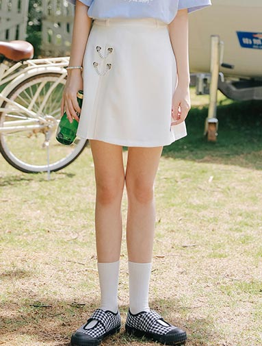 High rise A-line embroidered mini skirt