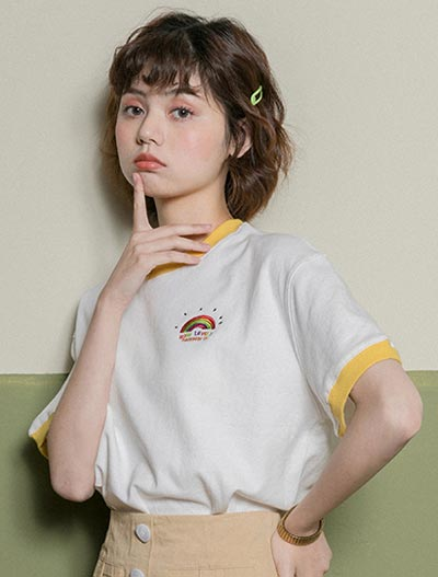 Embroidered cotton blend Tee