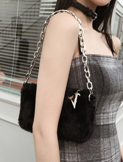 Fuzzy faux rabbit fur shoulder bag