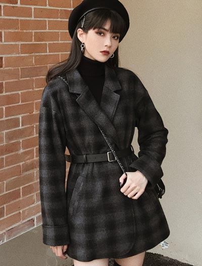 Checked belted wool blend coat