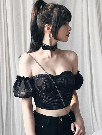Checked cropped bustier top + choker