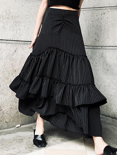 High rise striped fluted cotton blend maxi skirt