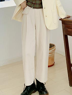 High rise straight-leg cotton trousers/pants
