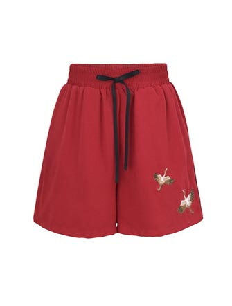 High rise crane embroidered cotton blend shorts