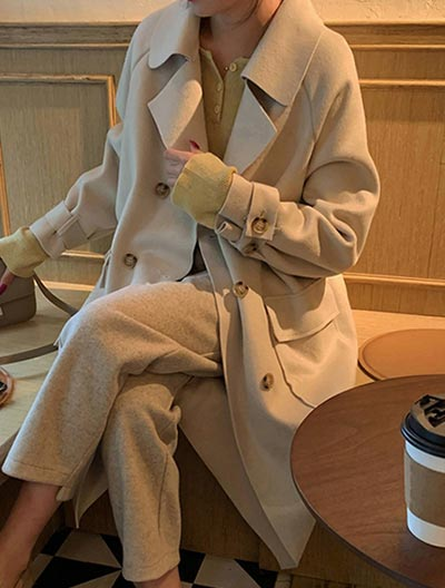 Double-breasted belted wool blend coat