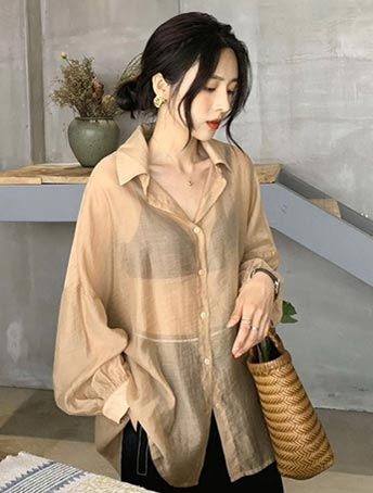 Oversized see-through/sheer summer outer
