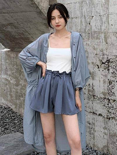 Hooded drawstring summer outer