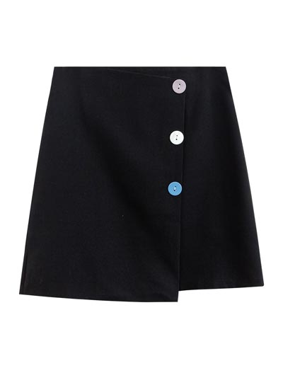 High rise A-line buttoned mini skirt