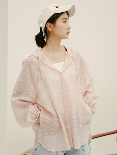 Oversized hooded see-through/sheer summer outer