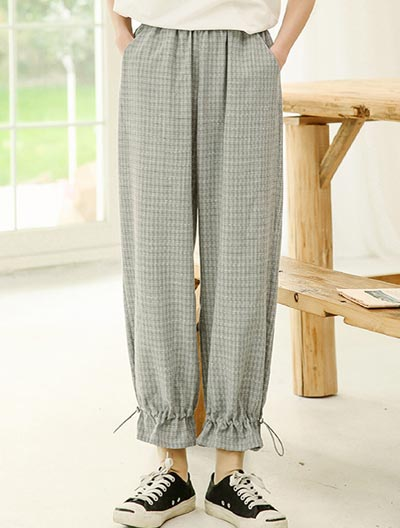 Checked drawstring trousers/pants